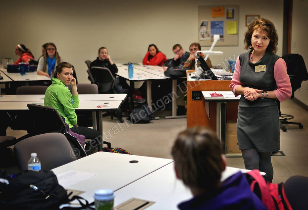 Lori Wangberg, M.A. Health Educator/H.I.V Test Counselor, and students speaks to health professions class about C.H.A.M.P.S.  Central Michigan University Photo by Steve Jessmore