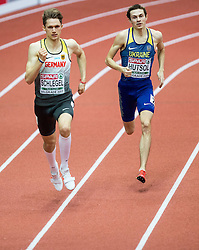 Marvin Schlegel of Germany and Yevhen Hutsol of Ukraine compete in the Men's 400 metres heats on day one of the 2017 European Athletics Indoor Championships at the Kombank Arena on March 3, 2017 in Belgrade, Serbia. Photo by Vid Ponikvar / Sportida