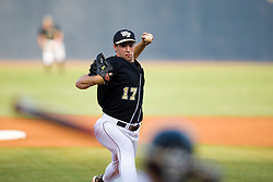 Wake Forest pitcher Garrett Bullock (17) delivers a pitch to a UVA batter.  The #16 ranked Virginia Cavaliers baseball team defeated the Wake Forest Demon Decons 4-2 at the University of Virginia's Davenport Field in Charlottesville, VA on April 18, 2008.