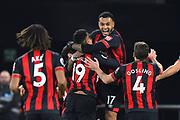 Goal - Joshua King (17) of AFC Bournemouth is mobbed as he celebrates scoring a goal to give a 3-0 lead to the home team during the Premier League match between Bournemouth and Chelsea at the Vitality Stadium, Bournemouth, England on 30 January 2019.