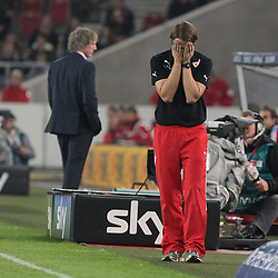 25.10.2013, Mercedes Benz Arena, Stuttgart, GEr, 1. FBL, VfB Stuttgart vs 1.FC Nuernberg, Fussball, 1.Bundesliga, 25.10.2013, 10. Runde, im Bild Trainer Thomas Schneider ( VfB Stuttgart ) Emotion // during the German Bundesliga 10th round match between VfB Stuttgart and 1. FC Nuernberg at the Mercedes Benz Arena in Stuttgart, Germany on 2013/10/26. EXPA Pictures © 2013, PhotoCredit: EXPA/ Eibner-Pressefoto/ Langer<br /> <br /> *****ATTENTION - OUT of GER*****