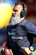 San Diego Chargers free safety Eric Weddle (32) sports a white beard as he warms up before the NFL week 15 regular season football game against the Denver Broncos on Sunday, Dec. 14, 2014 in San Diego. The Broncos won the game 22-10. ©Paul Anthony Spinelli