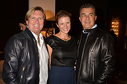 Alistair Dundas, Fiona Scarry and Omar Karakim at the 2017 PAD Collector's Preview, Berkeley Square, London, England. 02 October 2017.