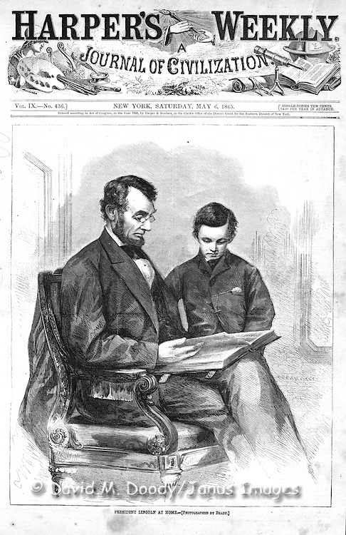 President Abe Lincoln & son Todd on the cover of Harper's following his assassination, after a photo by Brady Harper's Weekly, Sat May 6, 1865.