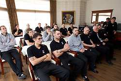 Slovenia Men Handball team at visit of Ambassador Extraordinary at Embassy of the Republic of Slovenia during 3rd day of 10th EHF European Handball Championship Serbia 2012, on January 17, 2012 in Hotel Srbija, Vrsac, Serbia.  (Photo By Vid Ponikvar / Sportida.com)