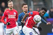 FODBOLD: Christian Køhler (FC Helsingør) og Ibrahim Moro (Silkeborg IF) under kampen i ALKA Superligaen mellem Silkeborg IF og FC Helsingør den 31. marts 2018 i Jysk Park, Silkeborg. Foto: Claus Birch.