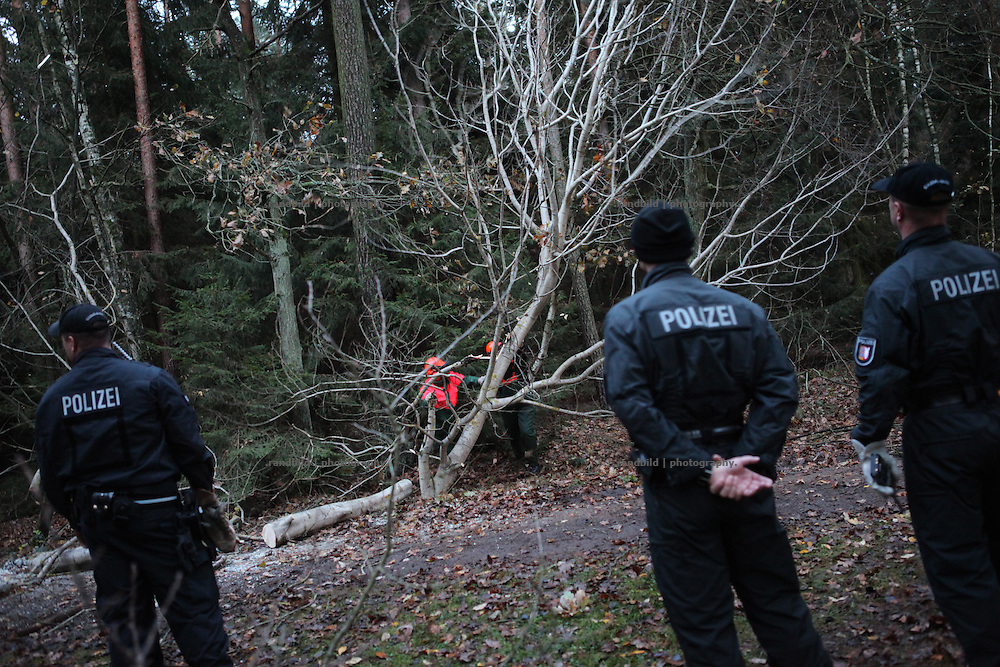 Unrest in Lüchow-Dannenberg. Police removes trees and stuff from forest roads which were blocked by proetsters near Metzingen. Thousands of people demonstrate against a transport of 11 Castor containers filled with high radioactive waste to Gorleben, Lower Saxony, Germany. The protest takes place shortly after the governments unpopular decision to extend the period of operation for german nuclear power plants for an additional decade.