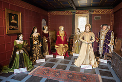 © Licensed to London News Pictures. 16/04/2018. Winchcombe, Gloucestershire, UK. Sudeley Castle's 'Royal Sudeley 1,000, Trials, Triumphs and Treasures'; tableau of Henry VIII with his wives. Treasures from Sudeley Castle's 1,000 year history have gone on show in a new exhibition. Called 'Royal Sudeley 1,000, Trials, Triumphs and Treasures', the newly refurbished exhibition includes a collection of priceless objects and curiosities. The exhibition includes a one-of-a-kind, life-size glass-engraved portrait of Katherine Parr by critically acclaimed artist, John Hutton. The artwork was re-discovered during the refurbishment of a holiday cottage on the estate, where it had been for decades. Its importance has now been realised and so it has been brought into the exhibition collection. Numerous items of historic significance are also on display, such as a lock of Katherine Parr's hair, her prayer book and an intricate lace christening canopy believed to have been worked on by Anne Boleyn for the christening of her daughter, Elizabeth I. Sudeley was a royal residence, closely associated with some of the most famous English monarchs, including Edward IV, Richard III, Henry VIII, Lady Jane Grey, Katherine Parr, Elizabeth I and Charles I. The Castle was even home to a secret Queen of England, Eleanor Boteler, whose royal status was unknown for centuries. Photo credit: Simon Chapman/LNP