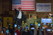 Billionaire and GOP presidential candidate Donald Trump waves as he comes onstage to addresses supporters at a rally January 27, 2016 in Lexington, South Carolina.