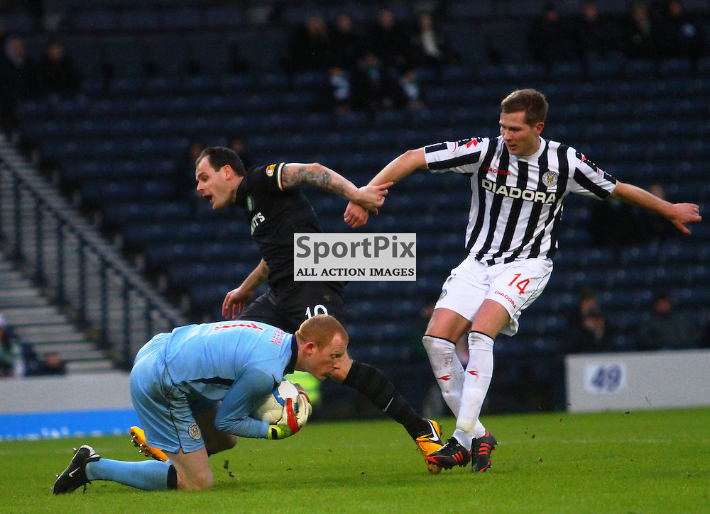 Anthony stokes celtic is beaten to the ball by Craig Sampson in the st mirren goal in the scottish communities league cup semi final at Hampden stadium picture kevin mcglynn