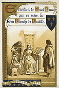 Louis IX (Saint Louis 1214-1270) King of France from 1226.   Louis being educated by his mother Blanche of Castile who acted as Regent from 1226 to 1234.  Nineteenth Century Trade Card  Lithograph