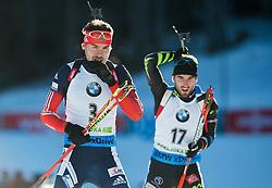 SHIPULIN Anton (RUS) and BEATRIX Jean Guillaume (FRA) compete during Men 15 km Mass Start at day 4 of IBU Biathlon World Cup 2014/2015 Pokljuka, on December 21, 2014 in Rudno polje, Pokljuka, Slovenia. Photo by Vid Ponikvar / Sportida