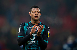 STOKE-ON-TRENT, ENGLAND - Saturday, January 25, 2020: Swansea City's Rhian Brewster applauds the supporters after the Football League Championship match between Stoke City FC and Swansea City FC at the Britannia Stadium. Swansea City lost 2-0. (Pic by David Rawcliffe/Propaganda)