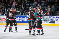 KELOWNA, CANADA - NOVEMBER 6: The Kelowna Rockets celebrate a goal against the Red Deer Rebels on NOVEMBER 6, 2013 at Prospera Place in Kelowna, British Columbia, Canada.   (Photo by Marissa Baecker/Shoot the Breeze)  ***  Local Caption  ***