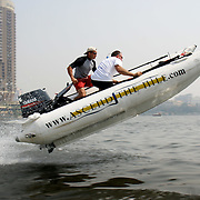 A Zap Cat R.I.B bet some air while racing down the river Nile in the middle of Cairo.