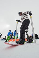 JORGENSEN Daniel, banked slalom training, 2015 IPC Snowboarding World Championships, La Molina, Spain
