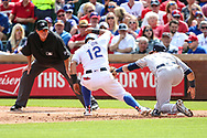March 29, 2018 - Arlington, TX, U.S. - ARLINGTON, TX - MARCH 29: Texas Rangers second baseman Rougned Odor (12) stretches for the bag as Houston Astros left fielder Marwin Gonzalez (9) tags him out during the game between the Texas Rangers and the Houston Astros on March 29, 2018 at Globe Life Park in Arlington, Texas. Houston defeats Texas 4-1. (Photo by Matthew Pearce/Icon Sportswire) (Credit Image: © Matthew Pearce/Icon SMI via ZUMA Press)