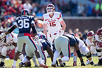 OXFORD, MS - OCTOBER 28:  Cole Kelley #15 of the Arkansas Razorbacks over center during a game against the Ole Miss Rebels at Hemingway Stadium on October 28, 2017 in Oxford, Mississippi.  The Razorbacks defeated the Rebels 38-37.  (Photo by Wesley Hitt/Getty Images) *** Local Caption *** Cole Kelley