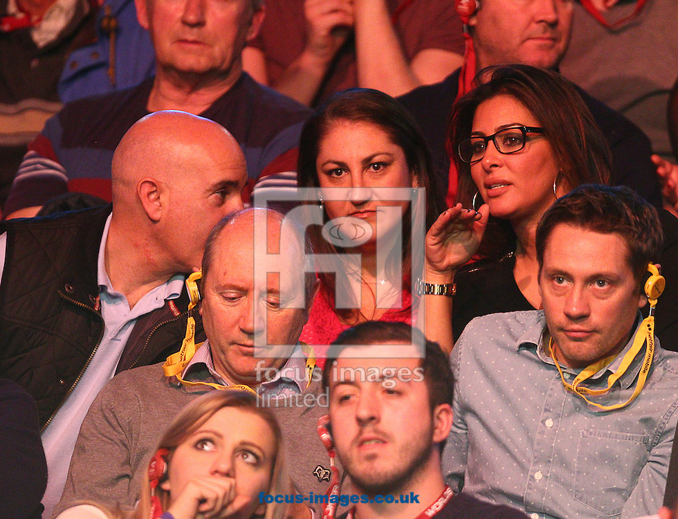 Picture by Paul Terry/Focus Images Ltd +44 7545 642257<br /> 14/01/2014<br /> Ronnie O' Sullivan's Fianc&eacute;e, Laila Rouass ( R ) is seen during The Masters first round match at Alexandra Palace, London.