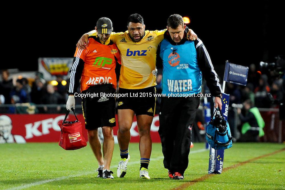 Hurricanes player Motu Matu`u walks of injured during their Investec Super Rugby game Crusaders v Hurricanes. Trafalgar Park, Nelson, New Zealand. Friday 29 May 2015. Copyright Photo: Chris Symes / www.photosport.co.nz