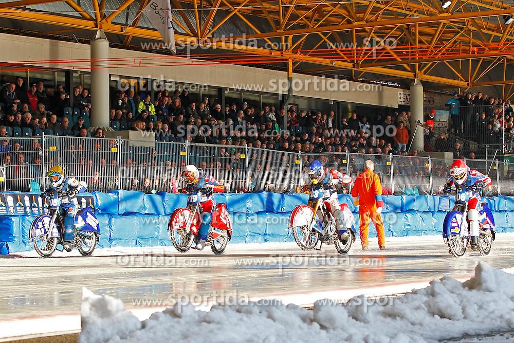 13.03.2016, Assen, BEL, FIM Eisspeedway Gladiators, Assen, im Bild Yegor Myshkovets (RUS), Dimitry Khomitsevich (RUS), Daniil Ivanov (RUS), Dimitry Koltakov (RUS) // during the Astana Expo FIM Ice Speedway Gladiators World Championship in Assen, Belgium on 2016/03/13. EXPA Pictures &copy; 2016, PhotoCredit: EXPA/ Eibner-Pressefoto/ Stiefel<br /> <br /> *****ATTENTION - OUT of GER*****
