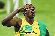 Jamaica's Usain Bolt wins the men's 100m final race of the 2009 IAAF Athletics World Championships ahead of US Tyson Gay and Jamaica's Asafa Powell on August 16, 2009 in Berlin. Jamaican Usain Bolt set a new world record of 9.58 seconds in winning the final of the men's 100m at the World Athletics Championships.