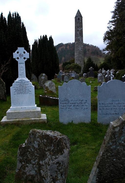 Cemetery of Glendalough, near Dublin, Ireland.