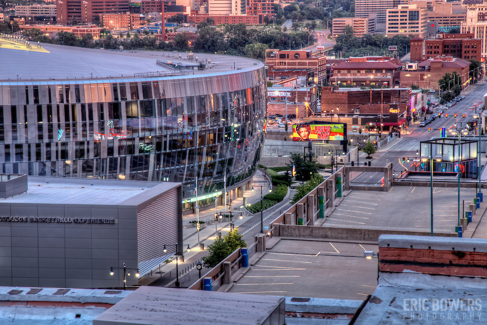 High angle view of downtown Kansas City  MO and Sprint Center at dusk from rooftop deck of Wall Street Tower Condos.