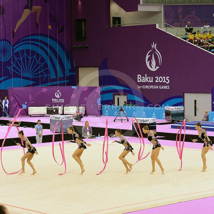 Baku, Azerbaijan 17 giugno 2015<br /> 1st European Games.<br /> Ginnastica Ritmica. Qualificazioni Nastri.<br /> Squadra Italia: Martina Centofanti, Sofia Lodi, Alessia Maurelli, Marta Pagnini, Camilla Patriarca, Andreea Stefanescu.<br /> Foto Simone Ferraro / GMT