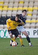 Dundee's Stephen O'Donnell gets to grips with Livingston's Kyle Jacobs  - Livingston v Dundee, IRN BRU Scottish Football League, First Division - ..© David Young - .5 Foundry Place - .Monifieth - .Angus - .DD5 4BB - .Tel: 07765 252616 - .email: davidyoungphoto@gmail.com.web: www.davidyoungphoto.co.uk