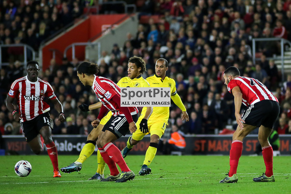 Rudy Gestede lays off a pass During Southampton vs Aston Villa on Wednesday the 28th October 2015.
