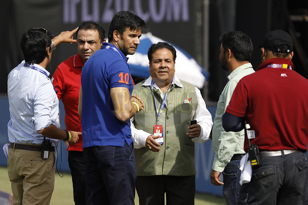 Rajeev Shukla chairman of Indian Premier League with officials during match 36 of the Vivo 2017 Indian Premier League between the Kings XI Punjab and the Delhi Daredevils  held at the Punjab Cricket Association IS Bindra Stadium in Mohali, India on the 30th April 2017<br /> <br /> Photo by Arjun Singh - Sportzpics - IPL