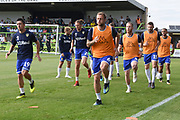 Leeds United players warm up during the Pre-Season Friendly match between Forest Green Rovers and Leeds United at the New Lawn, Forest Green, United Kingdom on 17 July 2018. Picture by Alan Franklin.