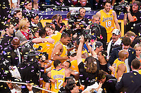 17 June 2010:  Pau Gasol, Andrew Bynum, Lamar Odom, Sasha Vujacic, and Shannon Brown of Los Angeles Lakers celebrate after the Lakers defeat the Boston Celtics 83-79 and win the NBA championship in Game 7 of the NBA Finals at the STAPLES Center in Los Angeles, CA.