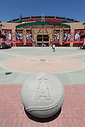 ANAHEIM, CA - MAY 15:  A large concrete baseball frames the foreground of the main entrance of the Los Angeles Angels of Anaheim game against the Oakland Athletics on Tuesday, May 15, 2012 at Angel Stadium in Anaheim, California. The Angels won the game 4-0. (Photo by Paul Spinelli/MLB Photos via Getty Images)