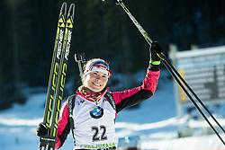 Sixth placed SKARDINO Nadezhda (BLR) celebrates at medal ceremony after the Women 10 km Pursuit at day 3 of IBU Biathlon World Cup 2014/2015 Pokljuka, on December 20, 2014 in Rudno polje, Pokljuka, Slovenia. Photo by Vid Ponikvar / Sportida