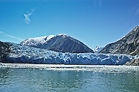 South Sawyer Glacier of the Coast Mountains flows into the waters of Tracy Arm, Alaska.
