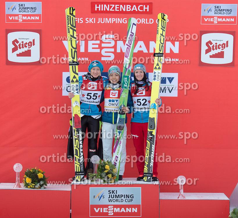 07.02.2016, Energie AG Skisprung Arena, Hinzenbach, AUT, FIS Weltcup Ski Sprung, Hinzenbach, Damen, Bewerb, im Bild v.l. 2. Platz Daniela Iraschko-Stolz (AUT), Siegerin Sara Takanashi (JPN), 3. Platz Jacqueline Seifriedsberger (AUT) // during Ladies Skijumping Competition of FIS Skijumping World Cup at the Energie AG Skisprung Arena, Hinzenbach, Austria on 2016/02/07. EXPA Pictures © 2016, PhotoCredit: EXPA/ Reinhard Eisenbauer