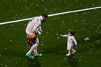 Real Madrid's player Sergio Ramos with his kids during the celebration of the victory of the Real Madrid Champions League at Santiago Bernabeu in Madrid. May 29. 2016. (ALTERPHOTOS/Borja B.Hojas)