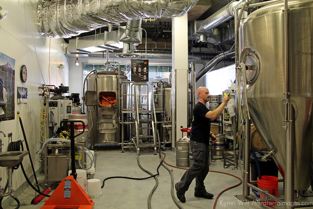USA, California, Long Beach. Behind the scenes at a microbrewery.