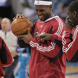 01 November 2008:  Cleveland Cavaliers forward LeBron James (23) prior to tip off of the NBA regular season home opener for the New Orleans Hornets against the Cleveland Cavaliers at the New Orleans Arena in New Orleans, LA..