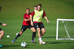 CARDIFF, WALES - Saturday, October 13, 2012: Wales' Sam Ricketts and Ashley 'Jazz' Richards during a recovery training session ahead of the Brazil 2014 FIFA World Cup Qualifying Group A match against Croatia at the Vale of Glamorgan Hotel. (Pic by David Rawcliffe/Propaganda)