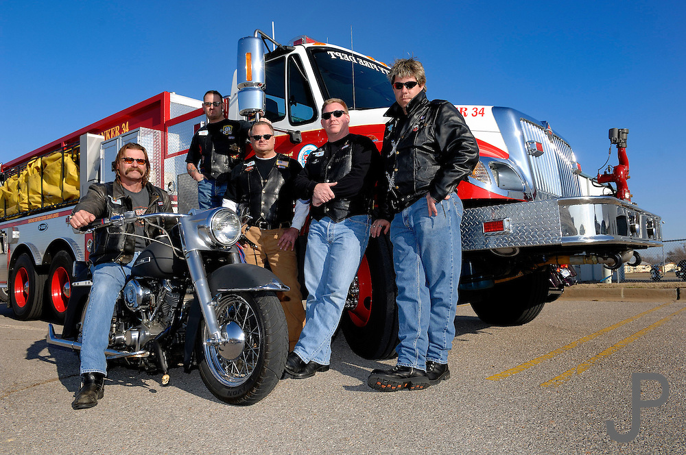 Fireman who ride Harley Davidson motorcycles often belong to a group called Wind & Fire motorcycle club.  These guys are from Heartland Heat chapter in Oklahoma City.