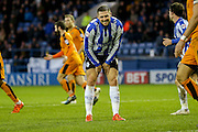 A wry grin by Sheffield Wednesday forward, on loan from Norwich City, Gary Hooper after an air shot during the Sky Bet Championship match between Sheffield Wednesday and Wolverhampton Wanderers at Hillsborough, Sheffield, England on 20 December 2015. Photo by Simon Davies.