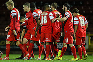 Marvin Bartley of Leyton Orient (4th left) celebrates scoring his team's second goal against Northampton Town with team mates during the Johnstone's Paint Trophy match at the Matchroom Stadium London,<br /> Picture by David Horn/Focus Images Ltd +44 7545 970036<br /> 11/11/2014