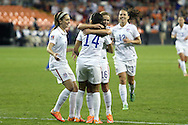 20 October 2014: Christen Press (USA) (14) celebrates her goal with Morgan Brian (USA) (7), Meghan Klingenberg (USA) (16), and Lauren Holiday (USA) (12). The United States Women's National Team played the Haiti Women's National Team at RFK Memorial Stadium in Washington, DC in a 2014 CONCACAF Women's Championship Group A game, which serves as a qualifying tournament for the 2015 FIFA Women's World Cup in Canada. The U.S. won the game 6-0.