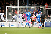 Wycombe goalkeeper Ryan Allsop (1) can\t stop this free kick from Peterborough Utd forward Marcus Maddison (21) 3-1 during the EFL Sky Bet League 1 match between Peterborough United and Wycombe Wanderers at London Road, Peterborough, England on 2 March 2019.