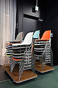 stacked chairs at a conference centre