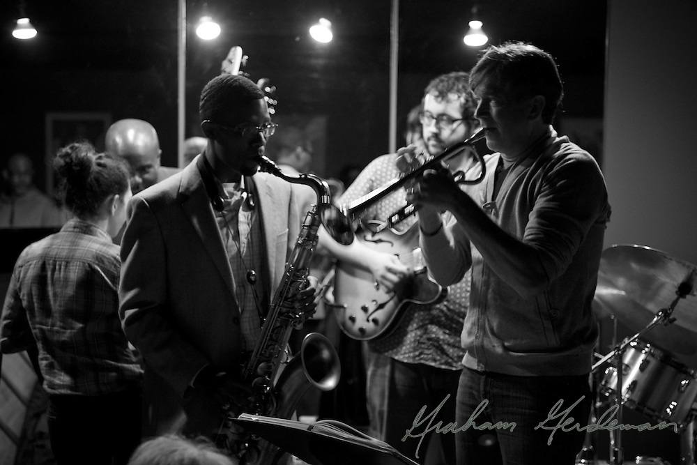 Saxophonist Cord Martin and trumpet superstar Rick Braun trade licks while performing with the Marcus Finnie Band at Nine48Jazz in Nashville, TN