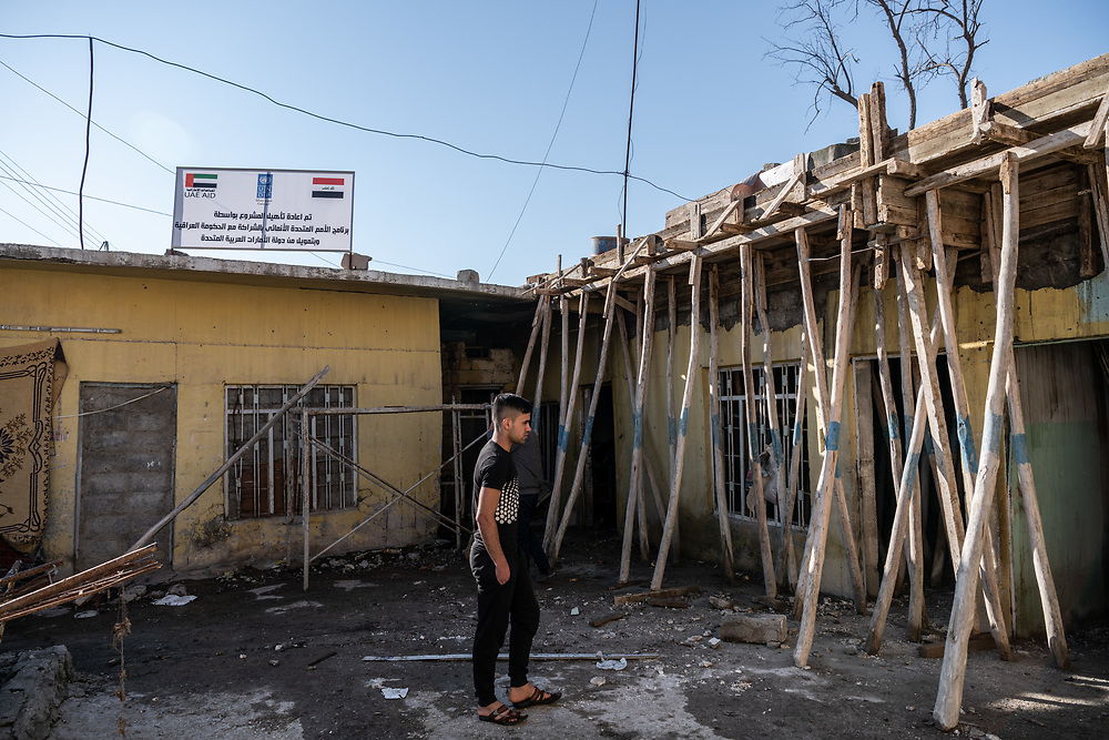 4 February 2019 – Mosul – Iraq – Work is underway to rehabilitate a family home in the Wadi Hajar neighbourhood of West Mosul. <br />